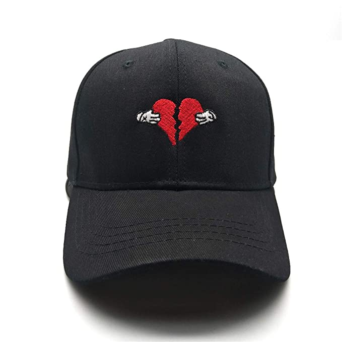 Image Unavailable. Image not available for. Color  Chensheng Broken Heart  Embroidered Baseball Cap,Men Wome Adjustable Cotton Strapback Dad Hat Black dd67c1125fb1