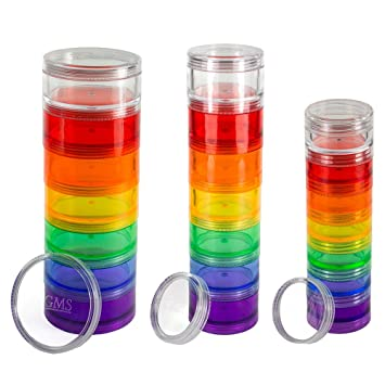 GMS 7 Day Pill Organizer   Stackable With Extra Lid And Adhesive Labels For  Each Day Awesome Design