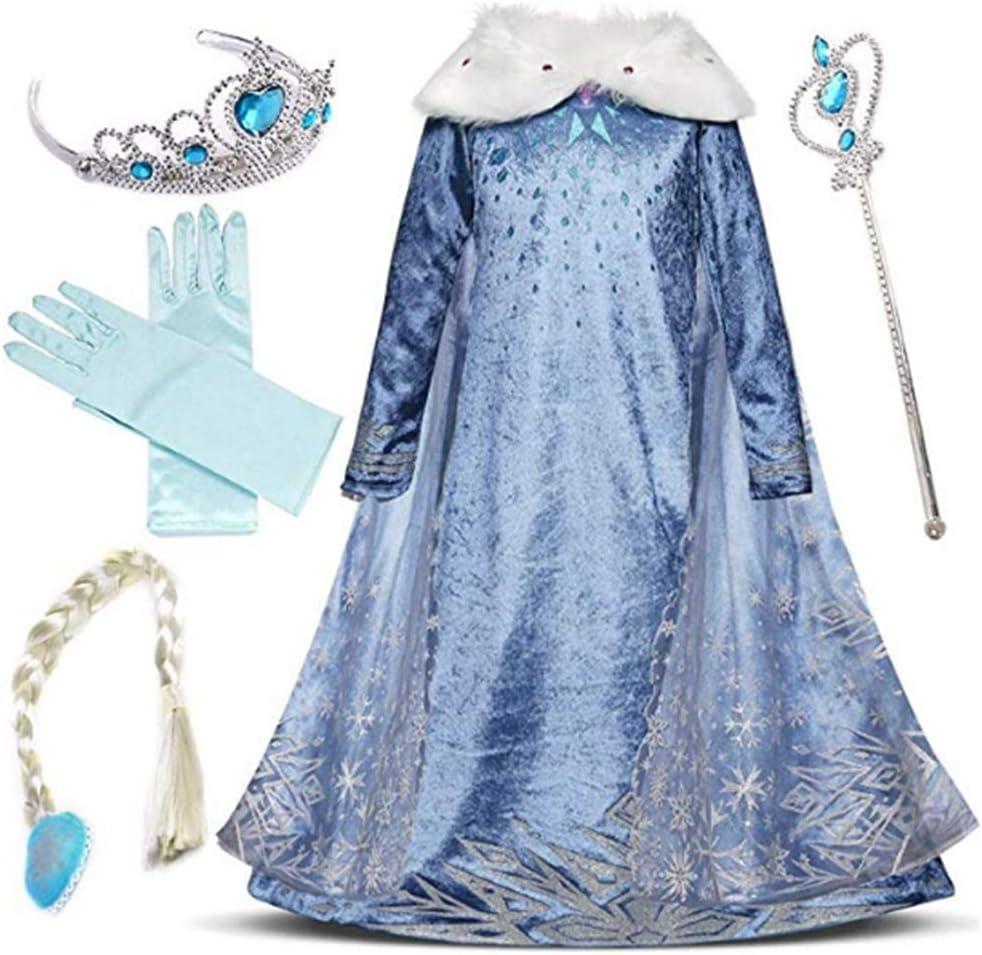 IWFREE Disfraz de Princesa Elsa para niña Capa Disfraces Vestido ...