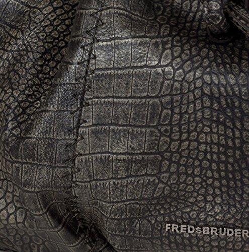 FREDsBRUDER Croco X Cross Beuteltasche - Umhängetasche mit extra Schulterriemen aus Leder im Kroko-Design (38 x 34 x 14 cm) Dark Taupe yGaf7Gs2