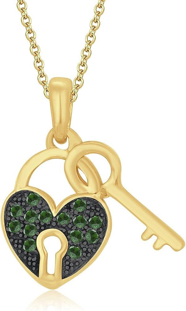 Silvernshine Jewels Colgante de oro amarillo de 10 quilates con diseño de imitación de granate verde y corazón y llave