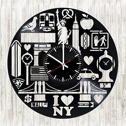 Amazon New York Symbols Vinyl Record Wall Clock