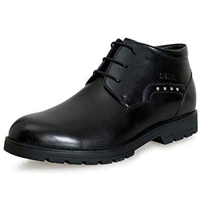 2.36 Inches Taller-Genuine Leather Height Increasing Elevator Boots Formal Business Keep Warm Shoes