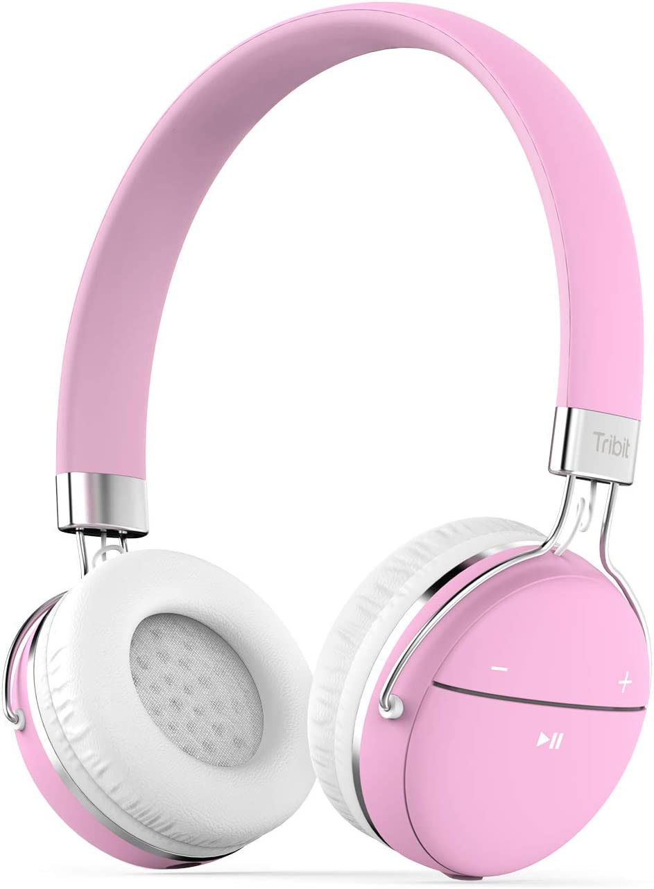 Tribit XFree Move Wireless Headphones for Girls, Bluetooth Headphones Hi-Fi Stereo Deep Bass, Bullet-in Mic and Wired Mode, On Ear, Support 3.5 mm AUX Devices, Pink
