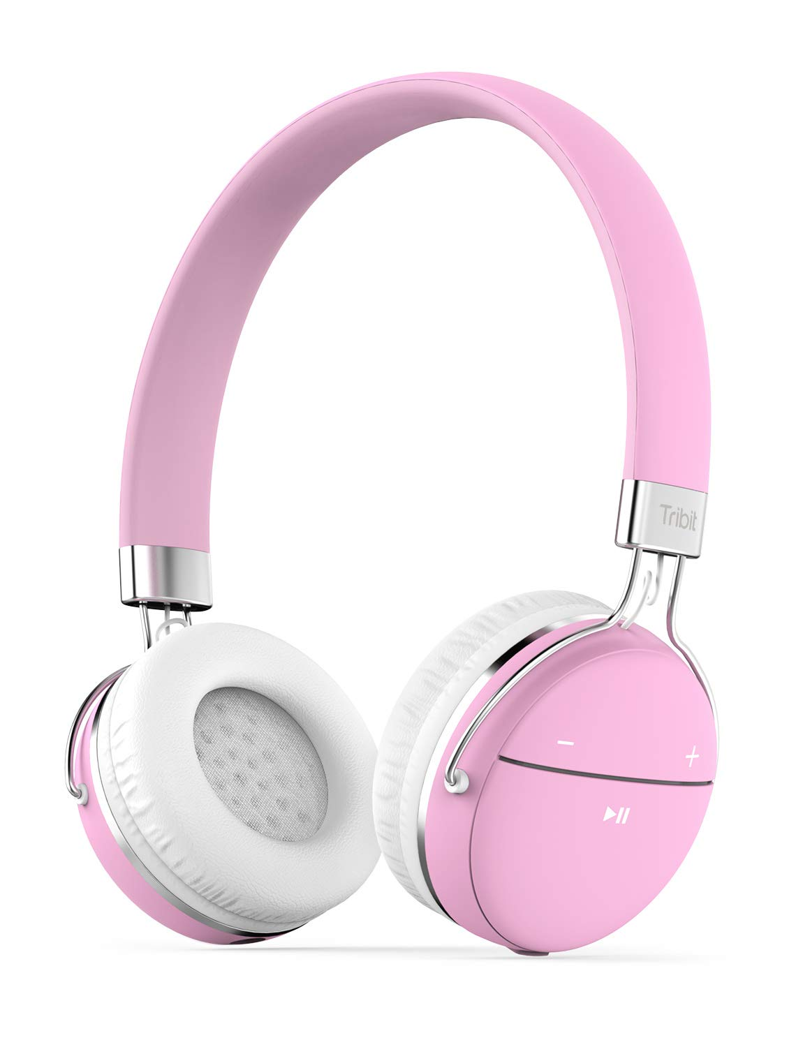 Tribit Xfree Move Bluetooth Headphones with MIC - Wireless Headphones for Girls, Dual Modes Long Playtime Hi-Fi Stereo Sound with Rich Bass Lightweight - Headphones for Women, Carnation Pink