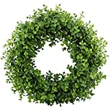 Each wreath is trimmed by hand to finish and make it perfectly round. Even the sides of the wreath are covered so the greenery wreath is not visible at any angle. This wreath is very durable being made of plastic thus it can last against any ...