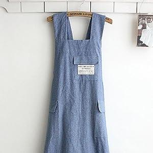 BBYBBS Chef Apron Gift Japanese Style X Shape Denim Smock Natural Cotton Apron Halter Cross Bandage Bib Kitchen Garden Wear
