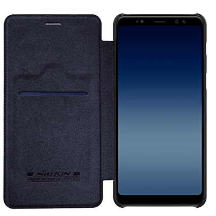 sports shoes cb24a 9296f Nillkin Qin Series Royal Leather Flip Case Cover for Samsung Galaxy A8 Plus  (2018) (Black)