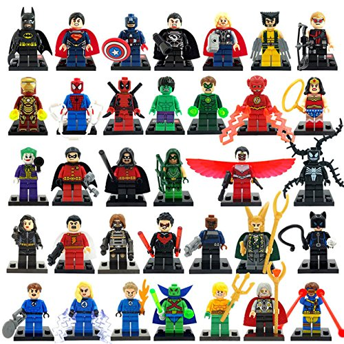 34pcs/lot Marvel DC Super Heroes Minifigures Avengers Iron Man Batman Building Blocks Sets Model Bricks (Super Heroes Avengers)