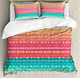 Arrow Decor Duvet Cover Set by Ambesonne, Colorful Ethnic Tribal Motifs with Geometric Shapes Triangles Old Aztec Maya Folkloric Art Home, 3 Piece Bedding Set with Pillow Shams, Queen / Full, Multi