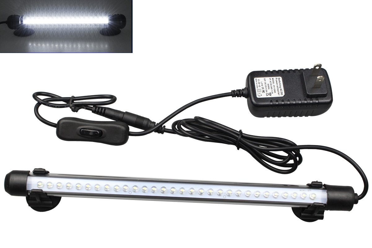 Mingdak LED Aquarium Light Kit for Fish Tank,Underwater Submersible Crystal Glass Lights Suitable for Saltwater and Freshwater,30 LEDs,11-inch,Lighting Color White by Mingdak