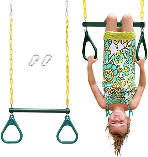 Naught Jungle 18 Trapeze Swing Bar Rings 48 Heavy Duty Chain Swing Set Accessories Locking Carabiners Green