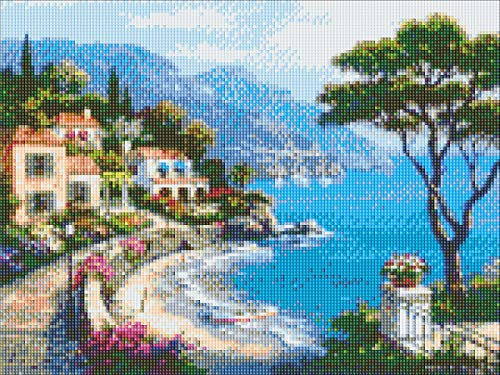 (Hi Stone Diamond Painting by Number Kits Full Square Drill 5d DIY Diamond Embroidery Landscape Home Wall Sticker Decor, Scenery Oil Painting Seaside Cottage,16x20 Inch (40x50cm))