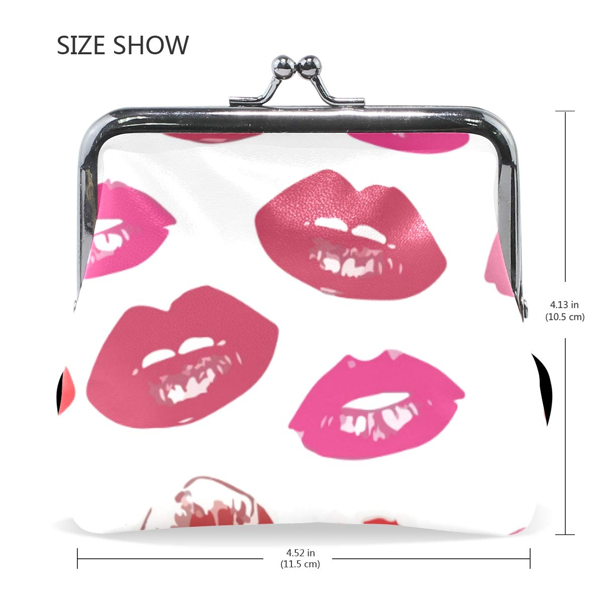 Red Fire Lip Gloss Colorful Coin Purse Buckle Vintage PU Pouch Kiss-lock Wallet for Women Girl