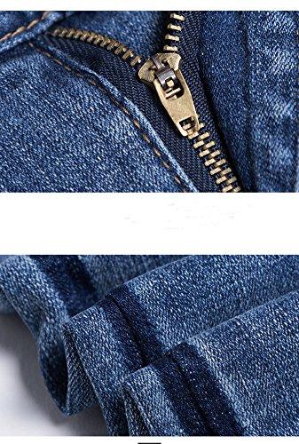 A Alta Boyfriend Denim Blu Donna Comodo Elasticizzati Baggy Pantaloni Larghi Vita Jeans FqYtff8w