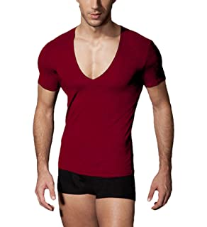 534c230c33e Q Y Men s Fitness Workout Tops Base Layer Deep V-Neck Silm Fit Short Sleeve  T