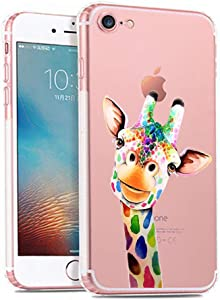 LEMONCOVER iPhone 8 7 Case,Cute Crystal Pattern Soft TPU Shockproof Slim Clear Design Novelty Animal Girly Bumper Cover Case for iPhone 7 8,Giraffe