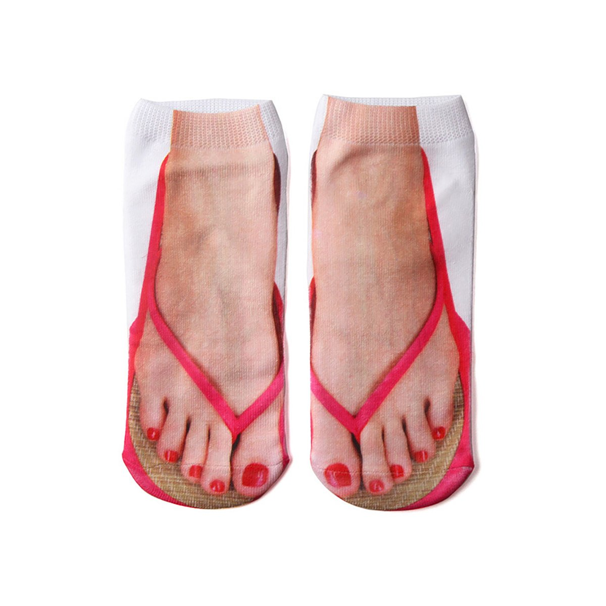 CZ Women 3D pattern Print Socks Cute Funny Flip Flop Socks Low Cut Ankle Socks 0604270536049