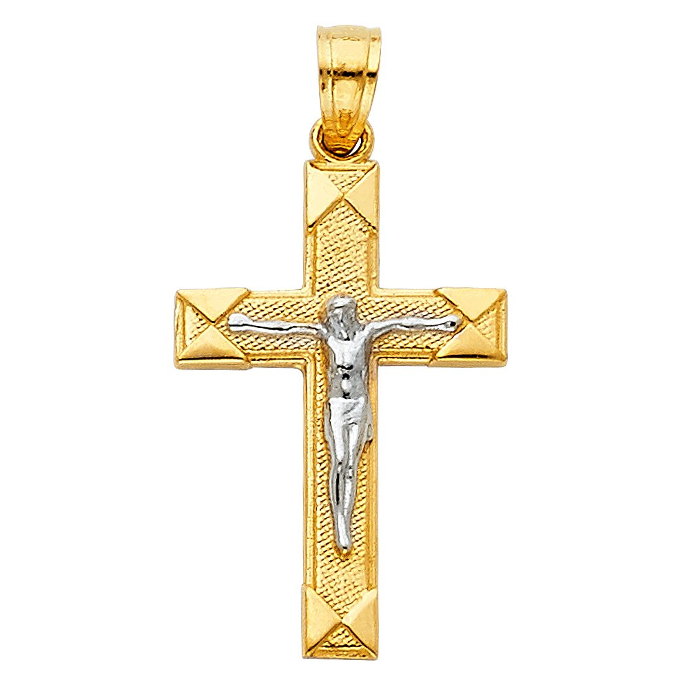 15 X 30mm 14K Two-Tone Gold Small//Mini Religious Crucifix Charm Pendant with 18 Rolo Chain