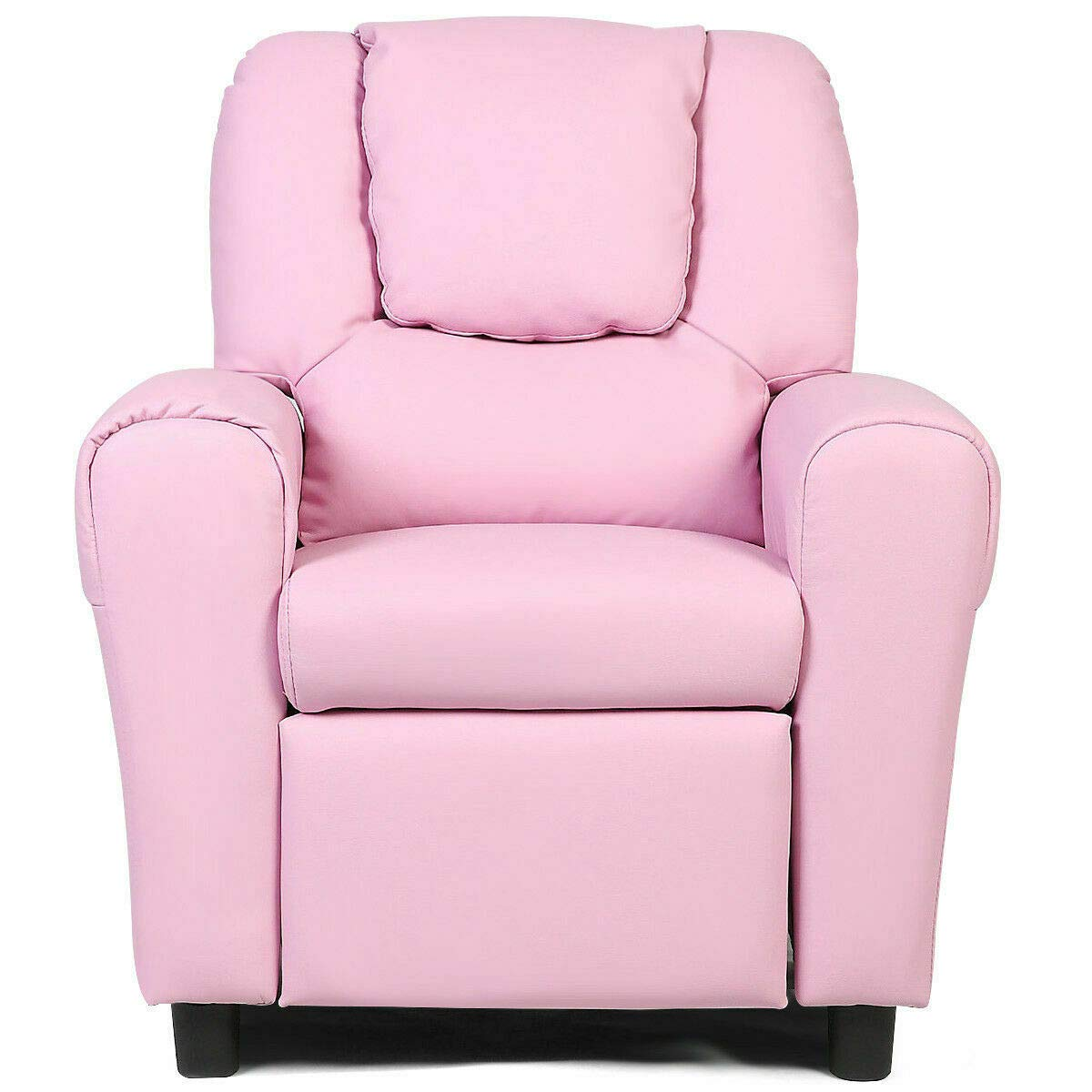 HONEY JOY Kids Recliner Chair, PU Leather Armchair with Holder and Headrest, Lounge Furniture for Boys and Girls, Sturdy Wood Frame, Sofa Chair Suitable for Living Room, Bedroom (Pink) by HONEY JOY