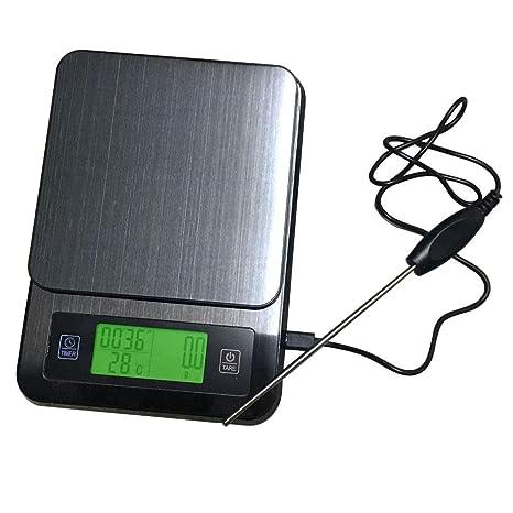 FOONEE Food Scale, Balanza de Cocina Digital Multifunción con Termómetro de Tiempo, Báscula de