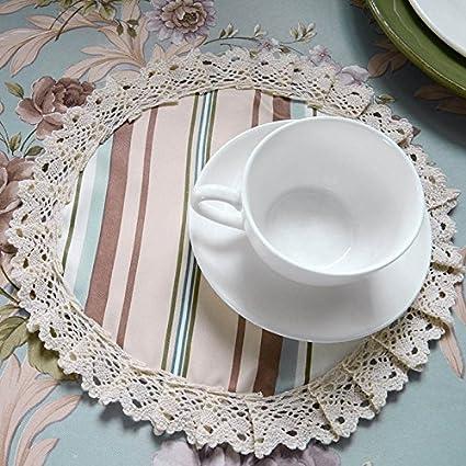 Marca nuevo moderno de encaje redondo manteles individuales de mesa azul ablashi, diseño de elegante