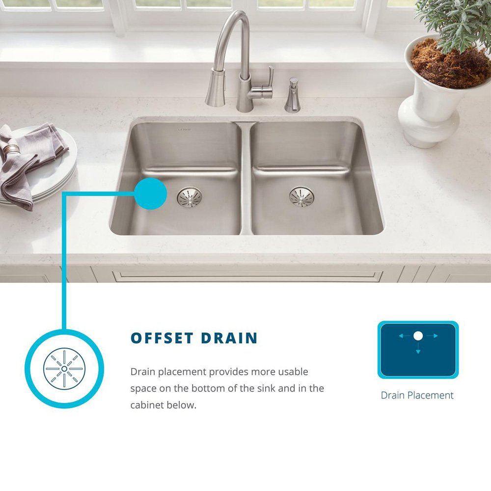 Offset Drain Kitchen Sink.Elkay Eluh3120r Lustertone Classic Offset Double Bowl Undermount Stainless Steel Sink