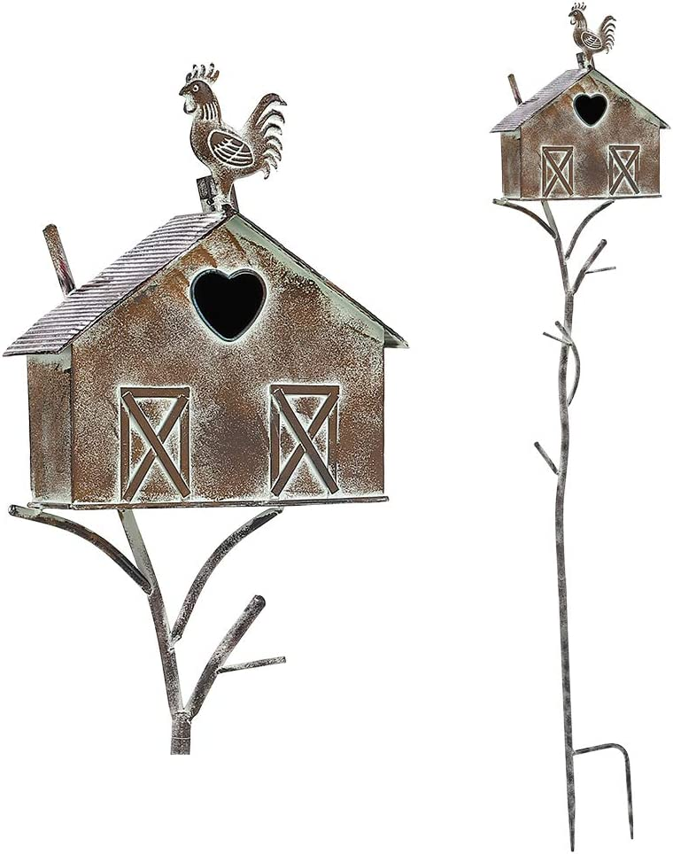 Brogan Rustic Farmhouse Barn Design Birdhouse Garden Stakes, Bird House Decorative for Lawn Patio Yard Art or Other Outside Space, Metal, 55 Inch (Multi-Color)