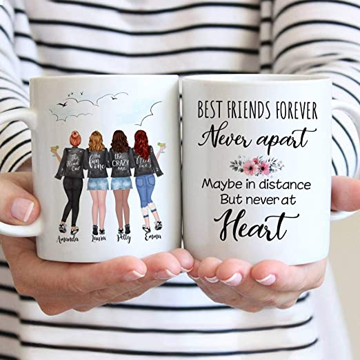 Amazon Com Personalized Mug 4 Girls Full Body Best Friends Forever Best Friend Birthday Gift Long Distance Friendship Galentines Gift Custom Mug 11 Oz Coffee Cups Mugs