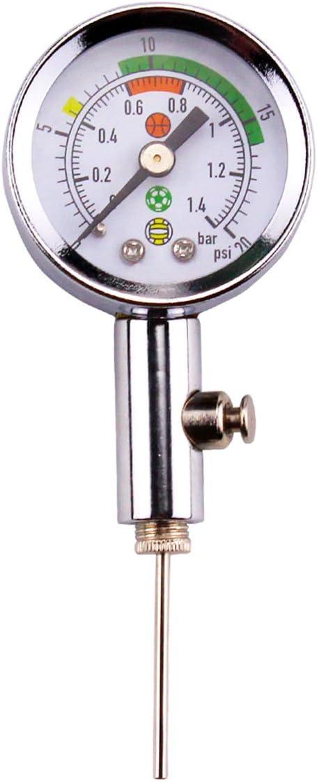 AOOPOO Medidor de presión de bolas con 3 agujas, medidor de presión de bomba de aire de bola, herramienta compacta para club de fútbol, ideal para fútbol, baloncesto, rugby