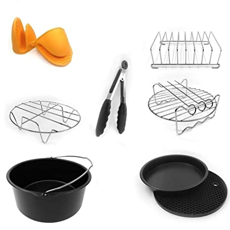 Universal 7 Inch Air Fryer Accessories 8 Pcs FDA Approved For Nuwave Philips Gowise etc Fit All 3.7QT to 5.8QT By EBIGIC
