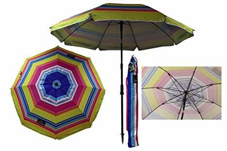 Sombrilla Crevicosta - Sombrilla con espiral, aluminio reforzado, diseño Multicolor, 200 cm de diámetro de parasol