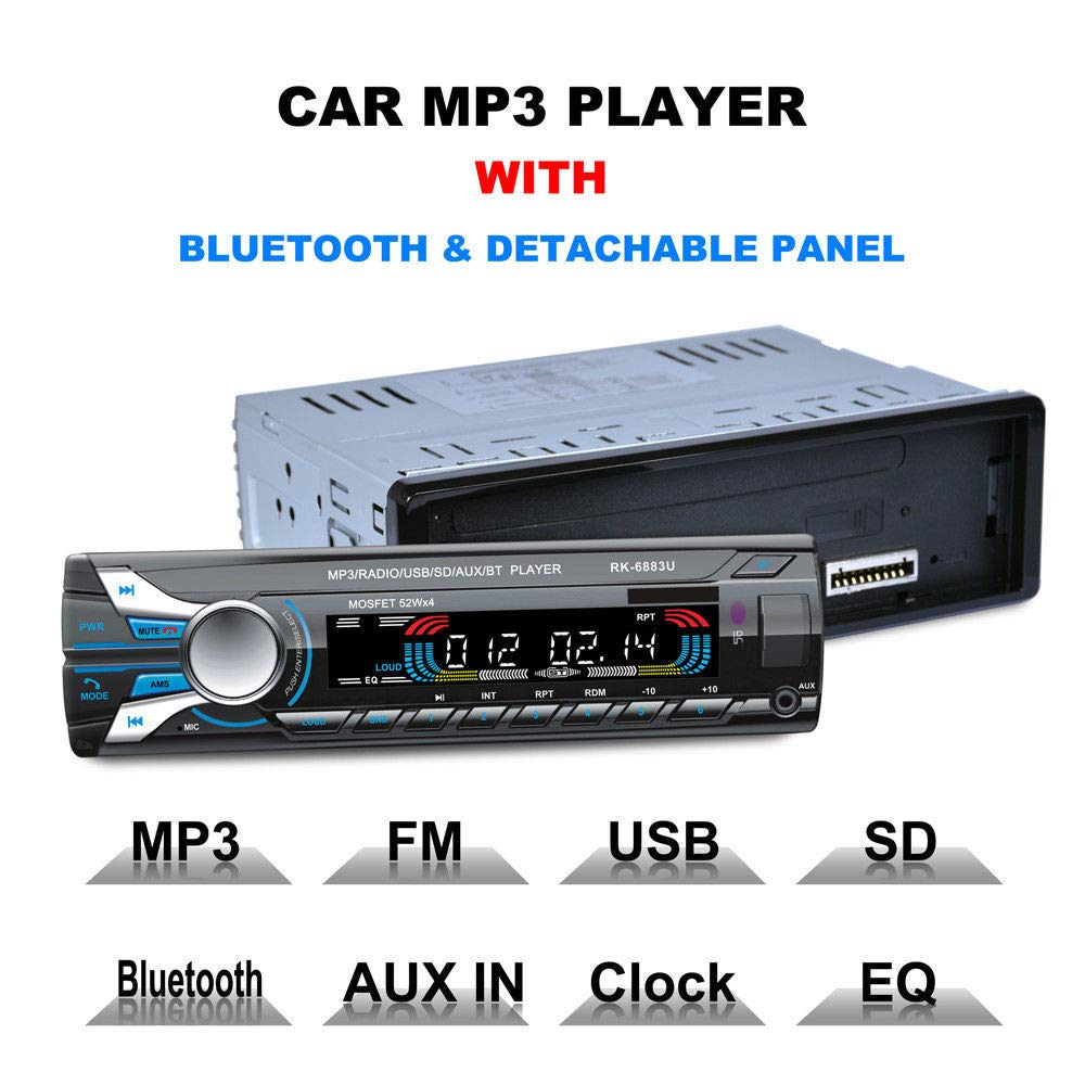 FidgetFidget Bluetooth Car Audio Stereo FM DVD CD MP3 Player Receiver USB SD AUX Input 6883U