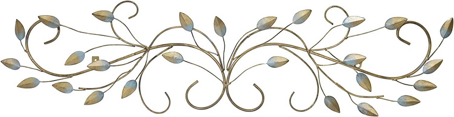 Your Home And Beyond Flowing Leaves Teal and Gold 40x10 Metal Wall Decor