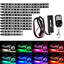 12Pcs Vehicle Motorcycle LED Light Kit Strips Multi-Color Accent Glow Lighting Neon Lights Lamp Flexible with Remote