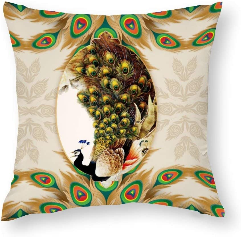 Square Cotton Pillowcase Throw Pillow Cover Indoor Decorative Cushion Covers Pillow Protector Double Printing, Peacock Pineapple Pattern, 18'' x 18'', Home Decor Perfect For Bedroom/Living Room