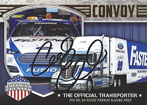 Autographed Carl Edwards 2014 Wheels American Thunder Racing Convoy   99 Fastenal Official Transporter  Signed Collectible Nascar Trading Card With Coa