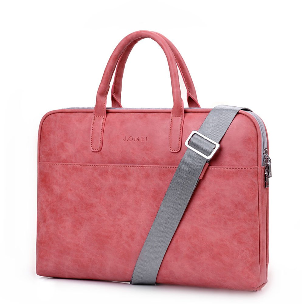 Fashion PU Leather Women Men Notebook Bag Laptop Bag Briefcase Crossbody Messenger Bags Satchel Purse Fit 14 15.6 Pink Black Red (14 inch, Pink) Made in China