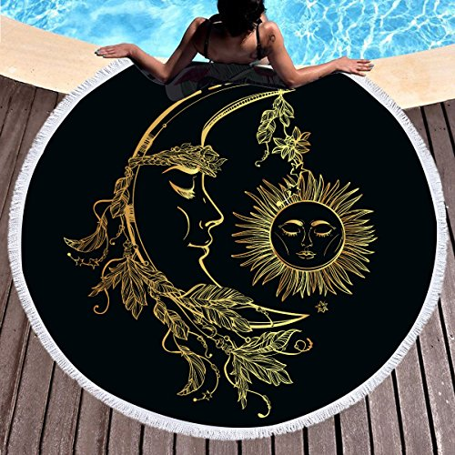 Sleepwish Gold Beach Towel, Round Beach Towel Blanket with Tassels, Boho Round Tapestry, Circle Beach Mats (Celestial Sun Moon, 60