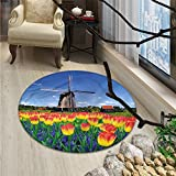 Landscape Round Rug Kid Carpet Tulip Blooms with Classic Dutch Windmill Netherlands Countryside Spring PictureOriental Floor and Carpets Yellow Blue