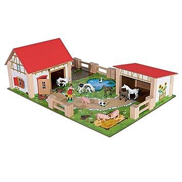 Bauernhof Holzspielzeug Set Viele Plastik-Tiere 61 Teile