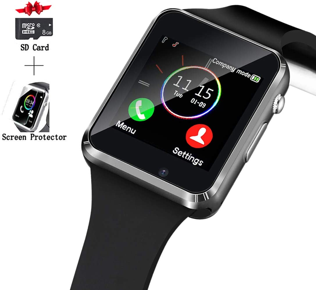 Smart Watch, Smartwatch Compatible with Android Samsung and iPhone Partial Functions with TF SIM Card Slot Text Call Reminder Camera Music Player Pedometer for Men Women Kids