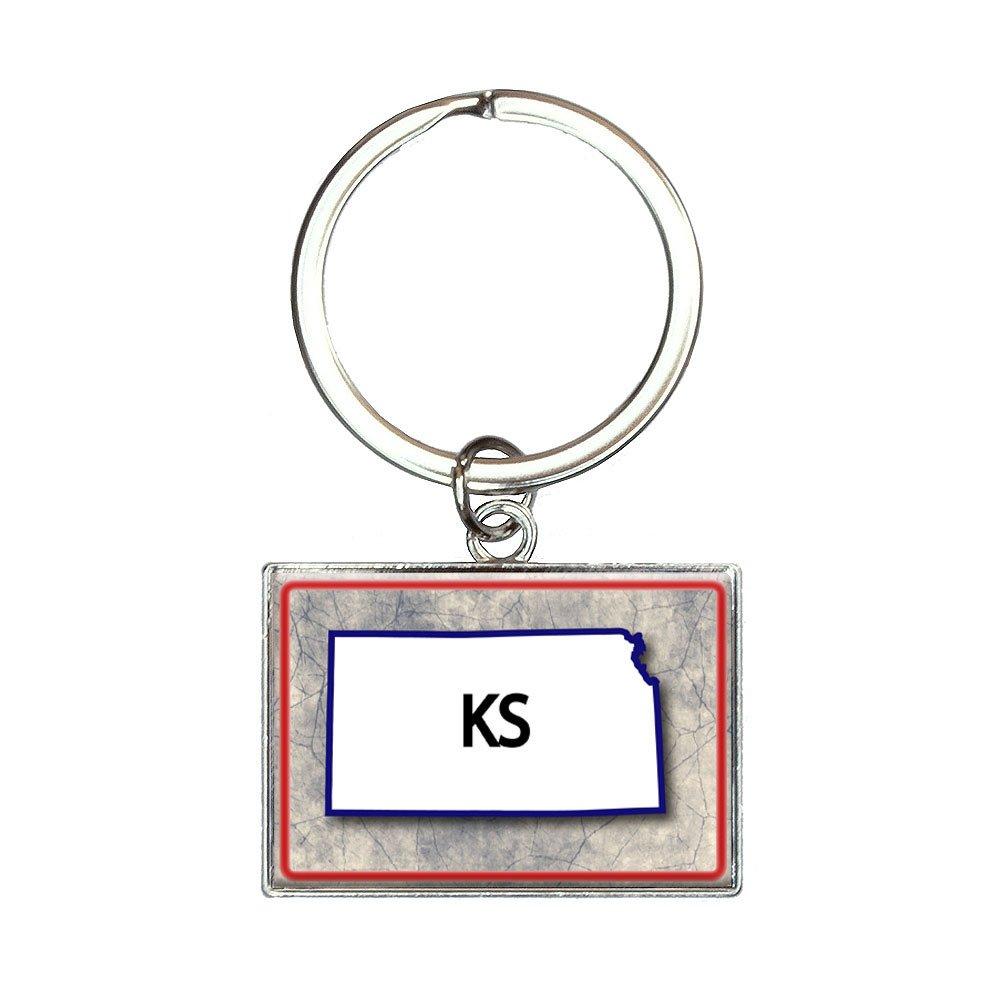 Amazon.com: Kansas KS State Outline - Llavero rectangular de ...
