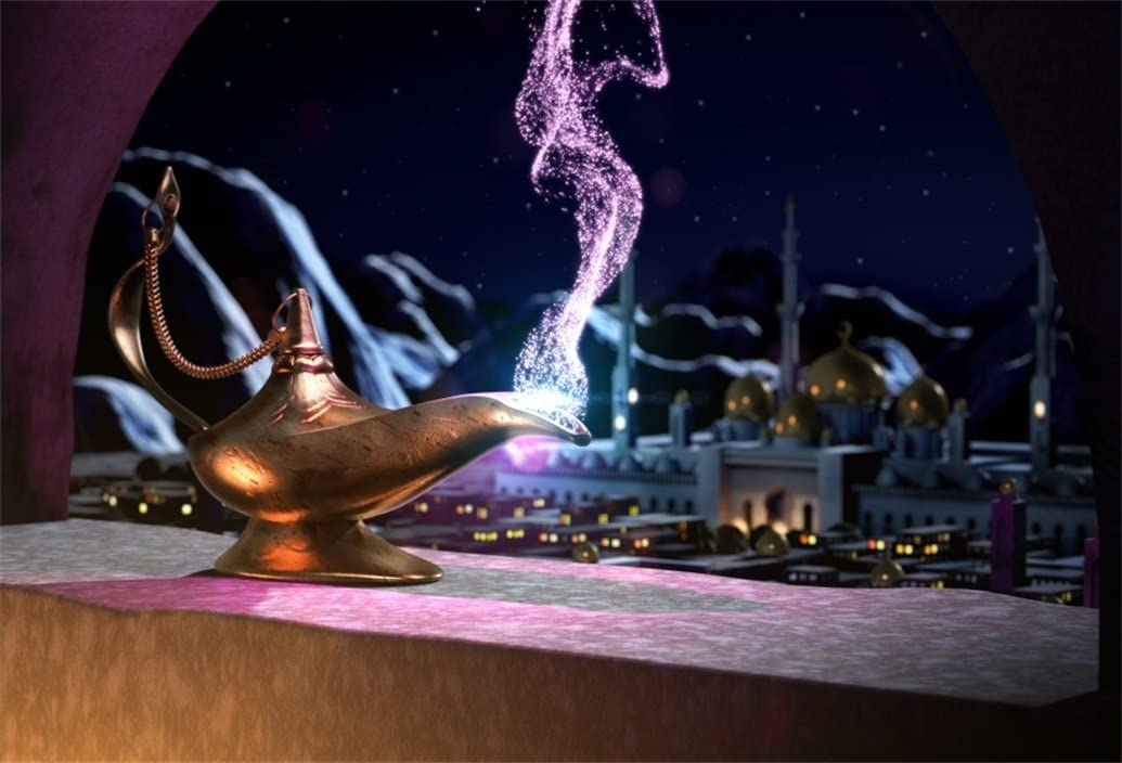 7x5ft Aladdins Genie Lamp Backdrop Magic Lantern with Smoke Photography Background Fantasy Wish Mysterious Luck Mythology Arabian Nights Fairy Tale Photo Studio Props Kid Children Wallpaper