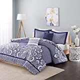 Intelligent Design Print Polyester Isabella Duvet Cover Set - Blue - Full/Queen