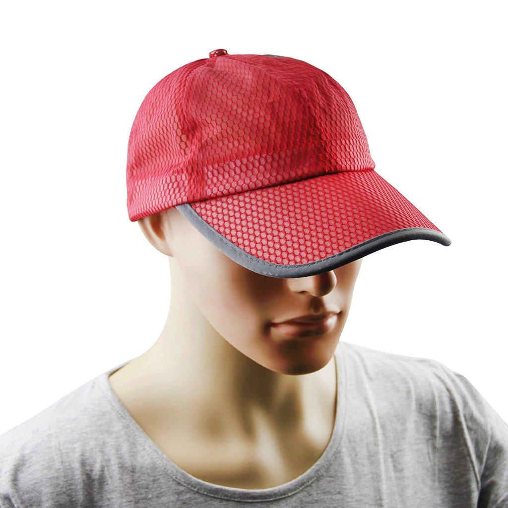 野球キャップ、メンズレディースSun太陽保護大きいバイザーメッシュキャップ帽子Headwear通気性すばやくドライアウトドアスポーツサイクリングキャンプ釣り旅行テニスゴルフ野球帽子キャップTopee uv50 +  Red/Mesh B01IUWQ80K