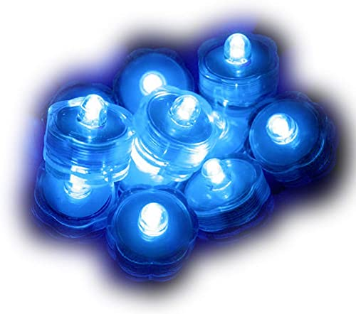 SOKATON Submersible Tea Lights Battery Operated LED Flameless Tealights Waterproof Vase Light for Christmas Xmas Wedding Party Holloween Decoration – Pack of 24 – Blue
