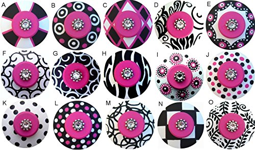 (Colorful Hand Painted Decorative Black White & Hot Pink Abstract Geometric Drawer Knobs Pulls Choose Your Designs (SINGLE KNOB))