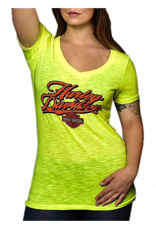 Harley-Davidson Women's Embellished Neon Script Short Sleeve Tee, Neon Yellow