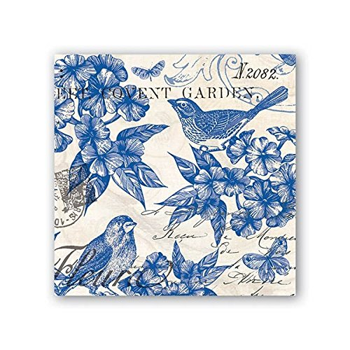 Michel Design Works 20 Count 3-Ply Paper Cocktail Napkins, Indigo Cotton
